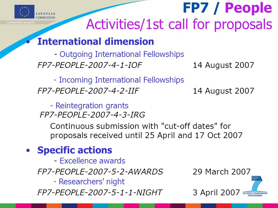 FP7 / People Activities/1st call for proposals