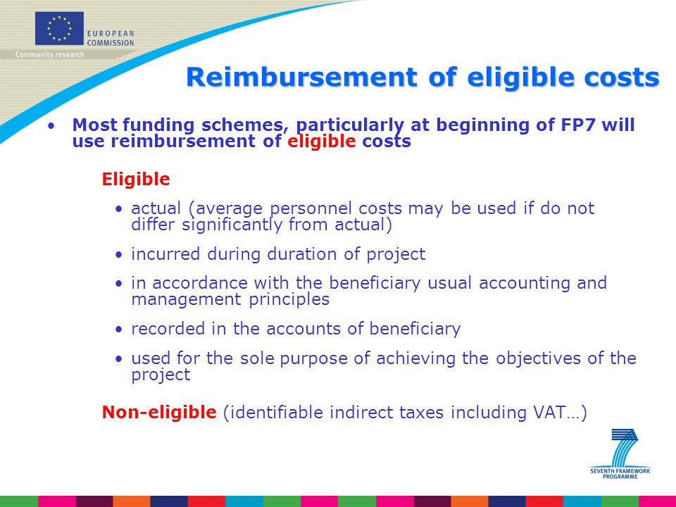 Reimbursement of eligible costs