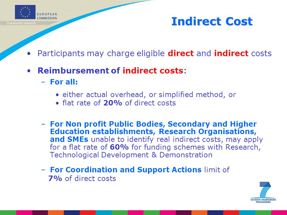 Indirect Cost Participants may charge eligible direct and indirect costs. Reimbursement of indirect costs:
