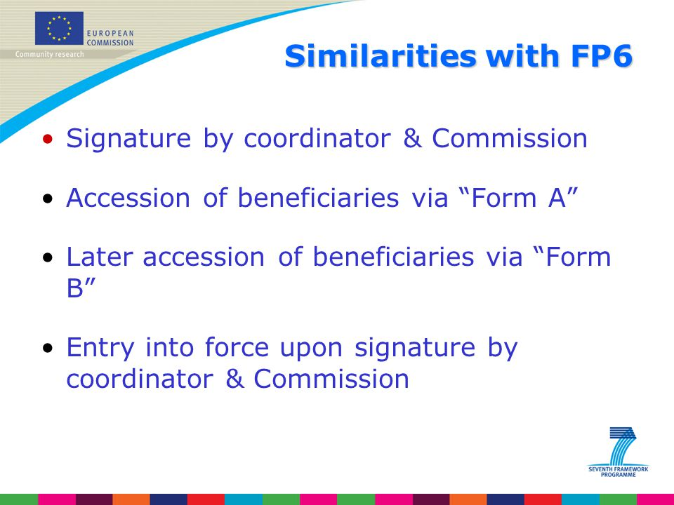 Similarities with FP6 Signature by coordinator & Commission
