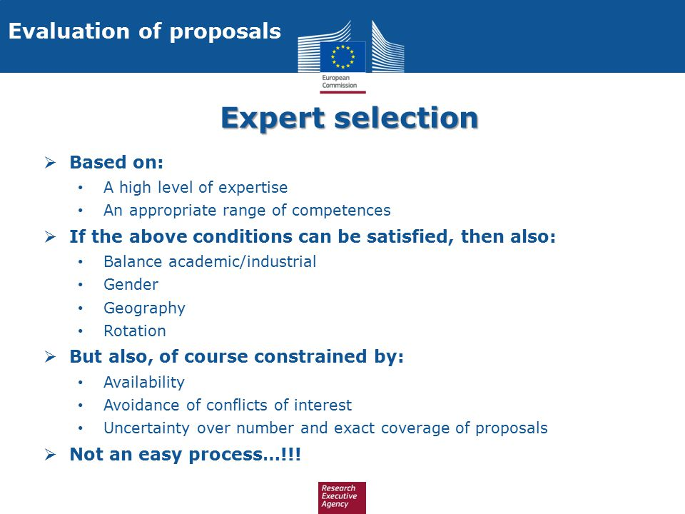 Expert selection Evaluation of proposals Based on: