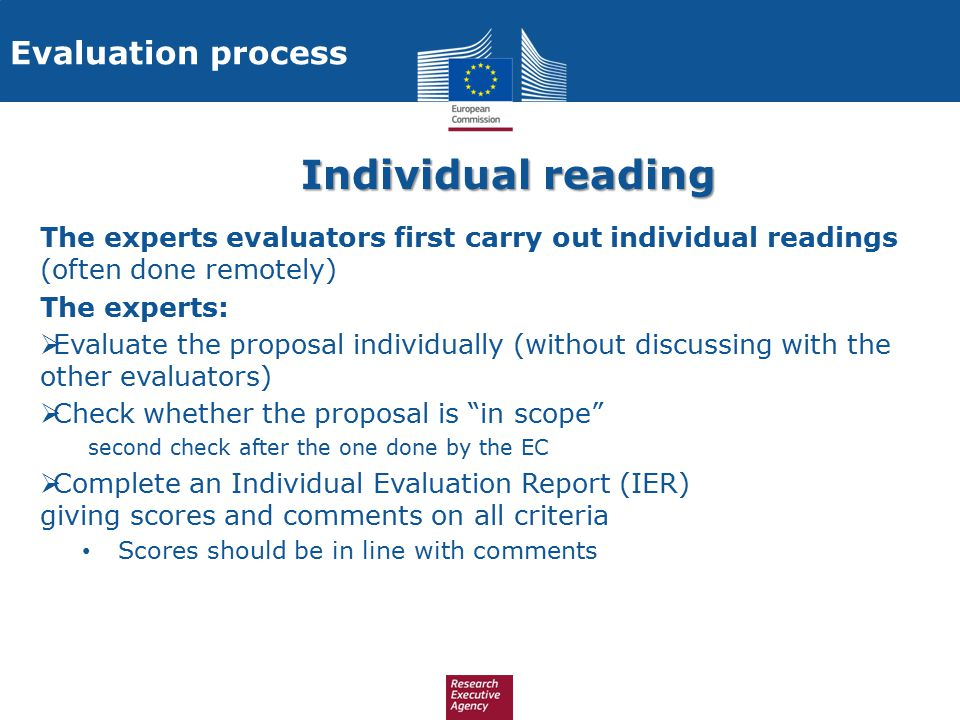 Individual reading Evaluation process