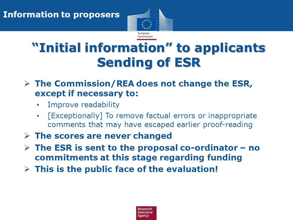 Initial information to applicants Sending of ESR