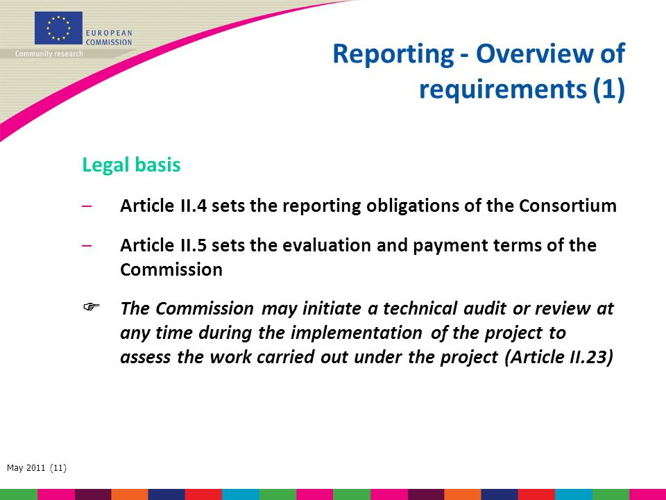 Reporting - Overview of requirements (1)