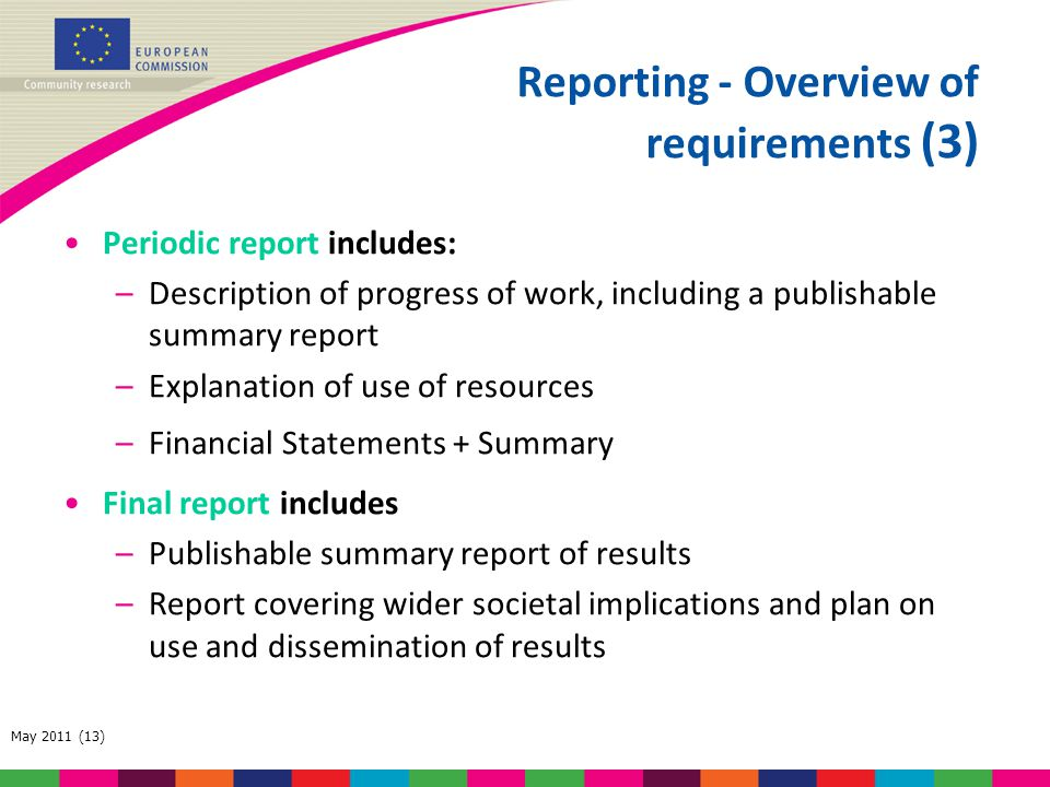 Reporting - Overview of requirements (3)