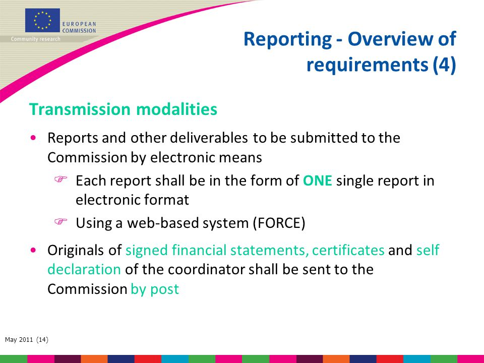 Reporting - Overview of requirements (4)