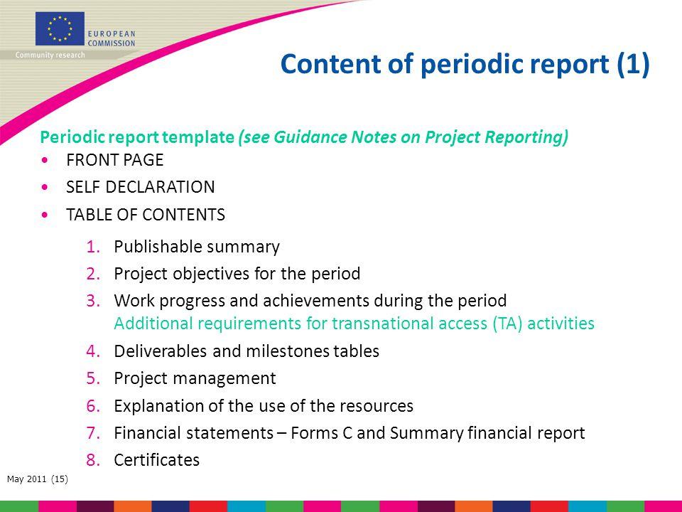 Content of periodic report (1)