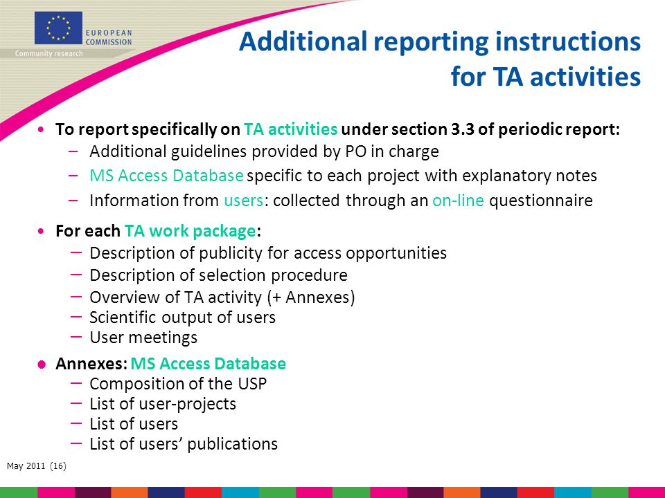 Additional reporting instructions for TA activities