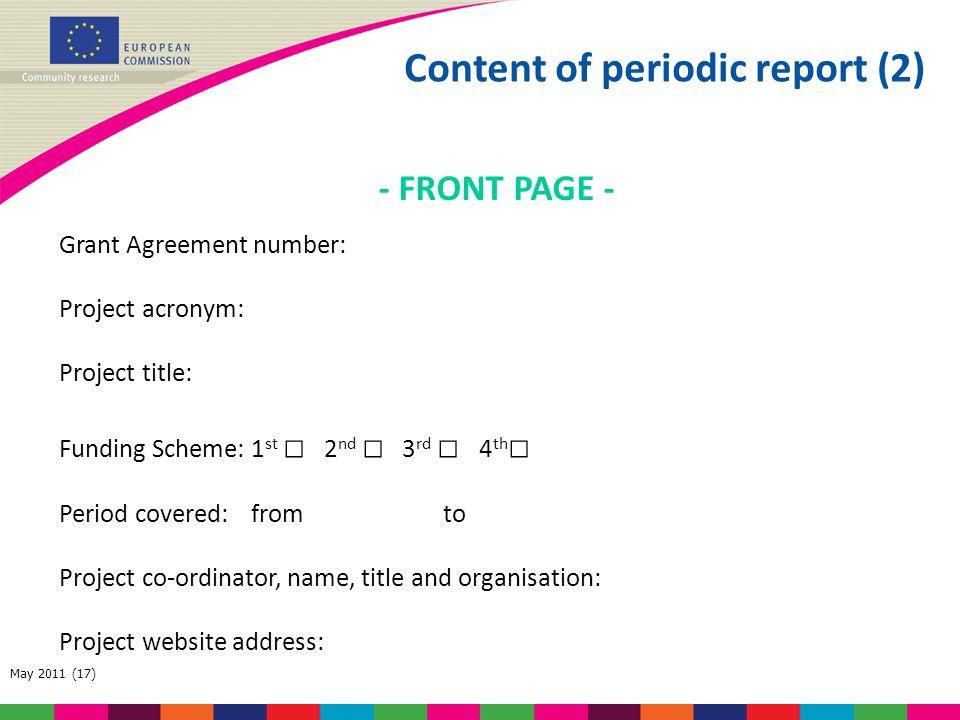 Content of periodic report (2)