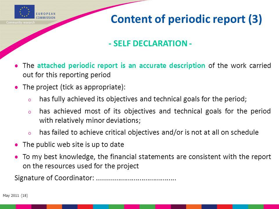 Content of periodic report (3)