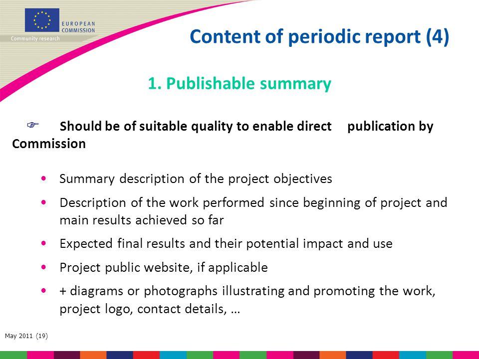 Content of periodic report (4)
