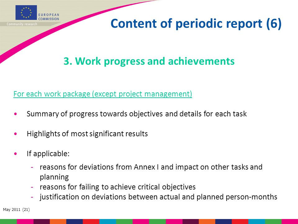 Content of periodic report (6) 3. Work progress and achievements