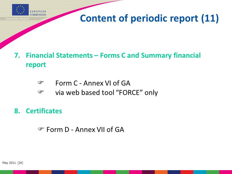 Content of periodic report (11)