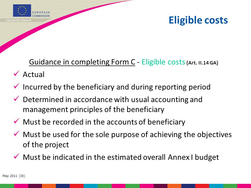 Guidance in completing Form C - Eligible costs (Art. II.14 GA)