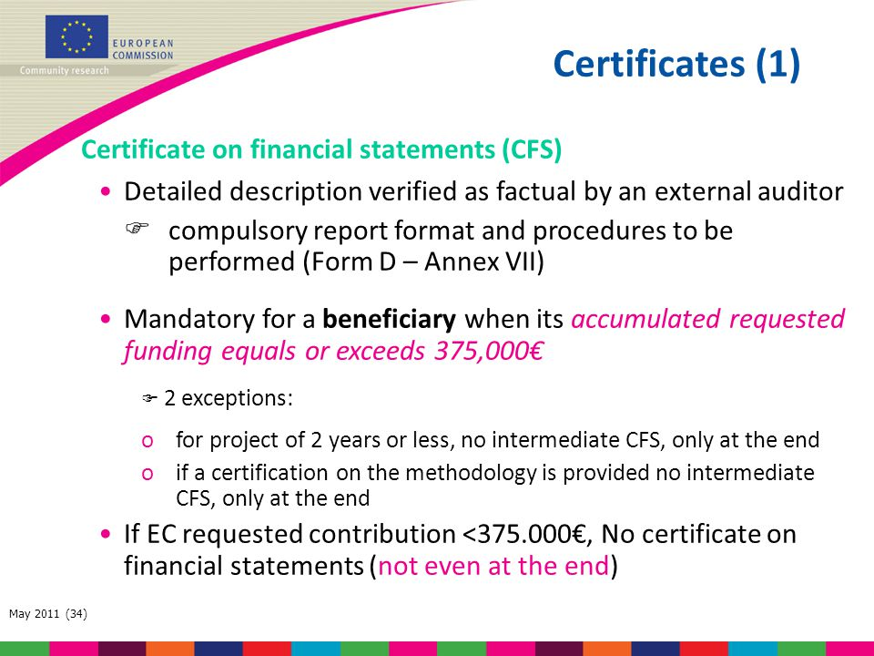 Certificates (1) Certificate on financial statements (CFS)