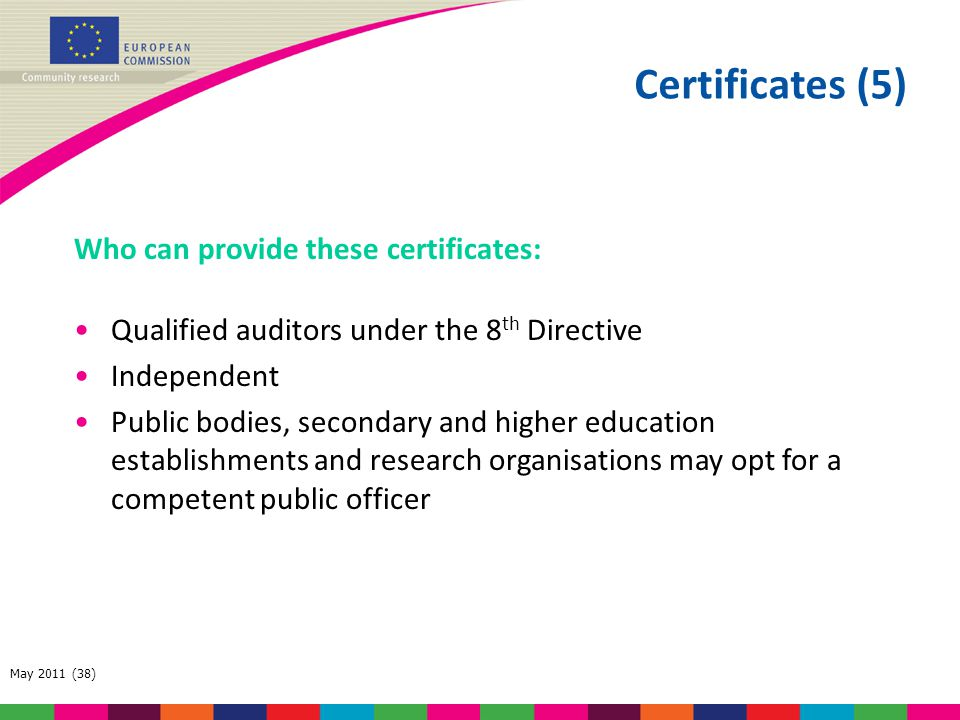 Certificates (5) Who can provide these certificates: