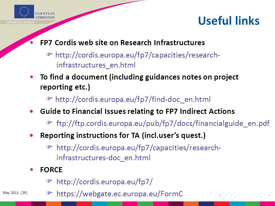 Useful links FP7 Cordis web site on Research Infrastructures
