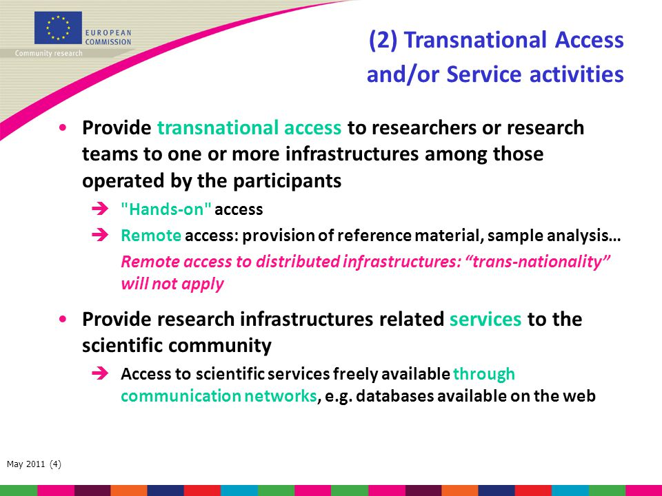 (2) Transnational Access and/or Service activities