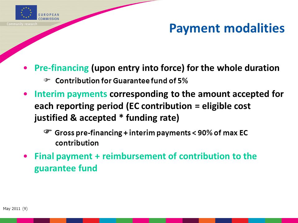 Payment modalities Pre-financing (upon entry into force) for the whole duration. Contribution for Guarantee fund of 5%