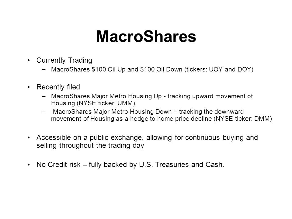 MacroShares Currently Trading Recently filed