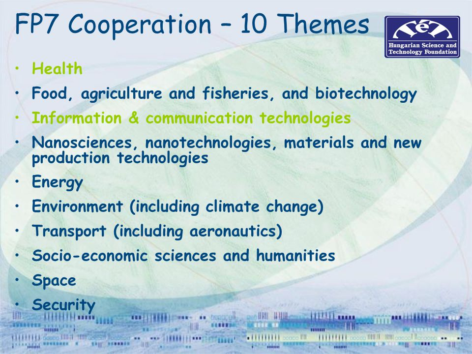 FP7 Cooperation – 10 Themes
