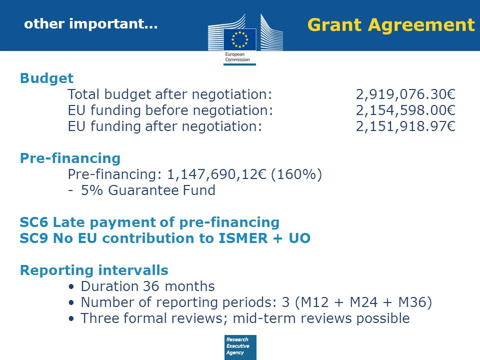 Grant Agreement other important… Budget