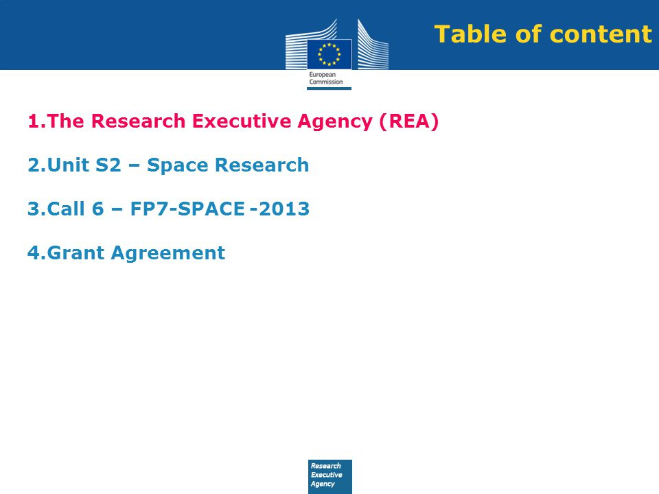 Table of content The Research Executive Agency (REA)