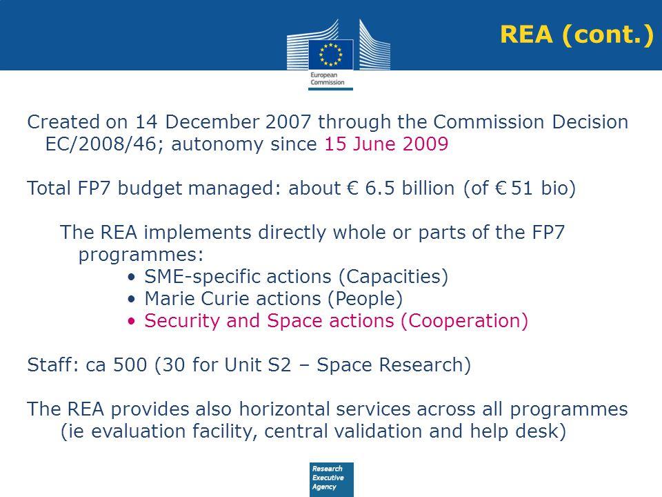REA (cont.) Created on 14 December 2007 through the Commission Decision EC/2008/46; autonomy since 15 June 2009.