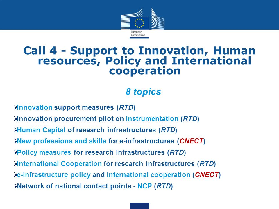 Call 4 - Support to Innovation, Human resources, Policy and International cooperation
