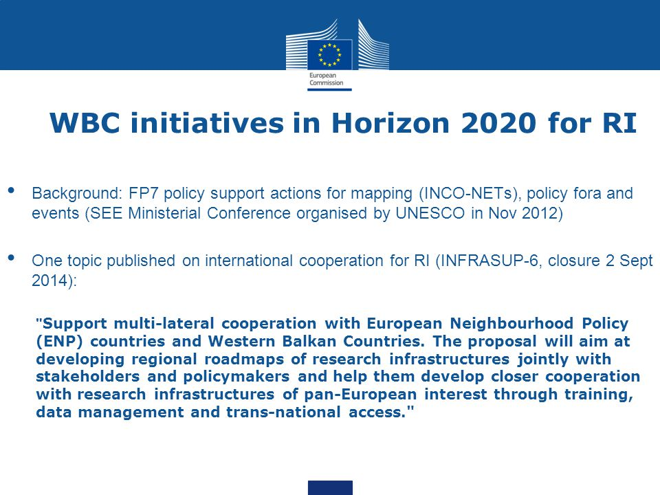WBC initiatives in Horizon 2020 for RI
