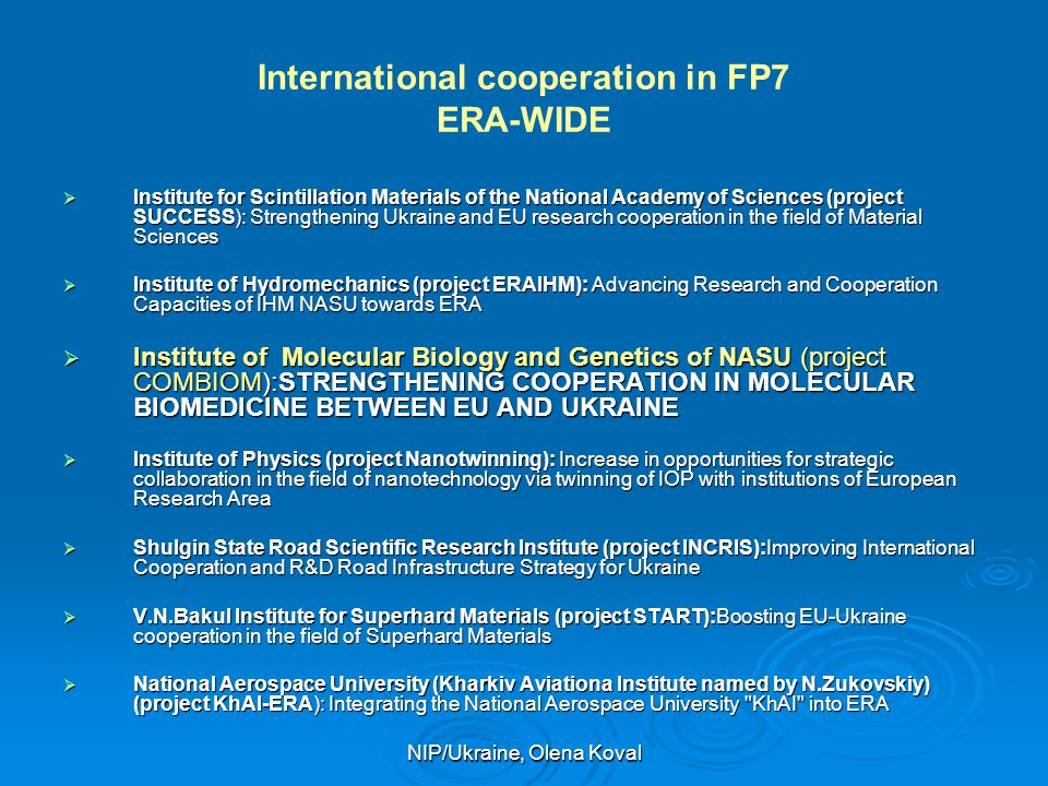 International cooperation in FP7 ERA-WIDE