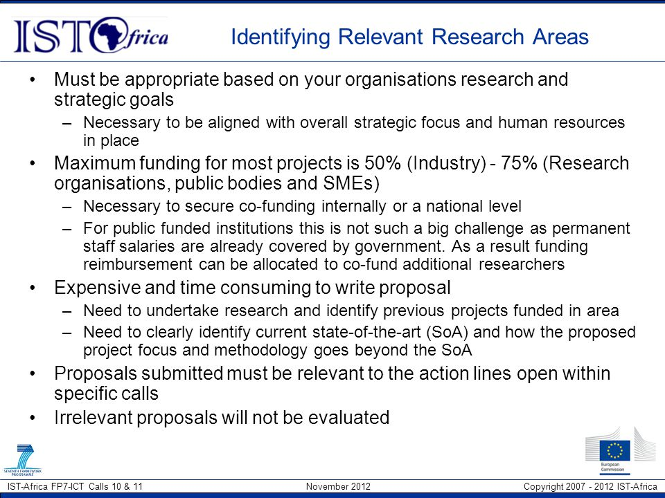 Identifying Relevant Research Areas