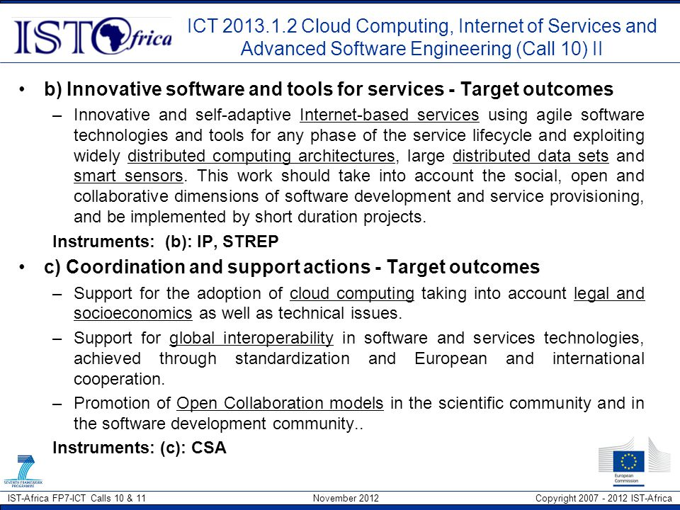 b) Innovative software and tools for services - Target outcomes