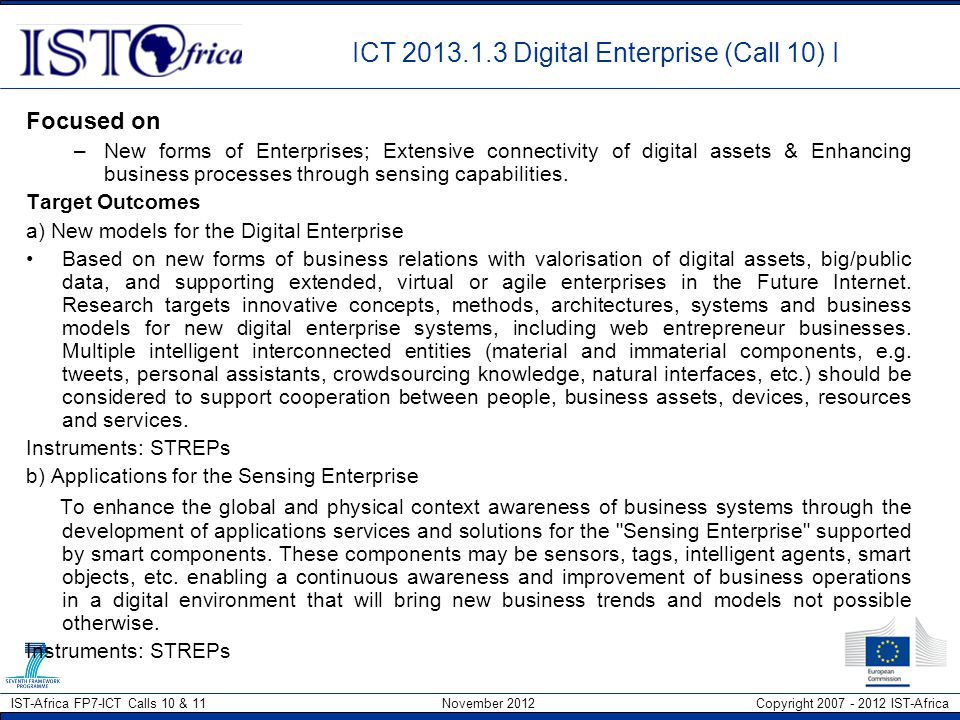 ICT 2013.1.3 Digital Enterprise (Call 10) I