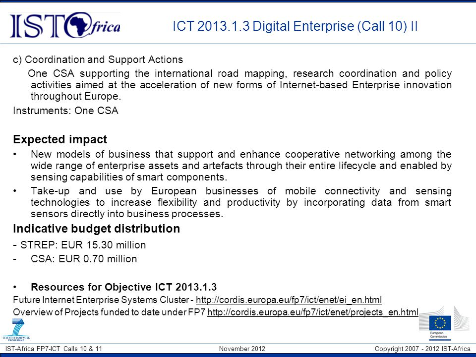 ICT 2013.1.3 Digital Enterprise (Call 10) II