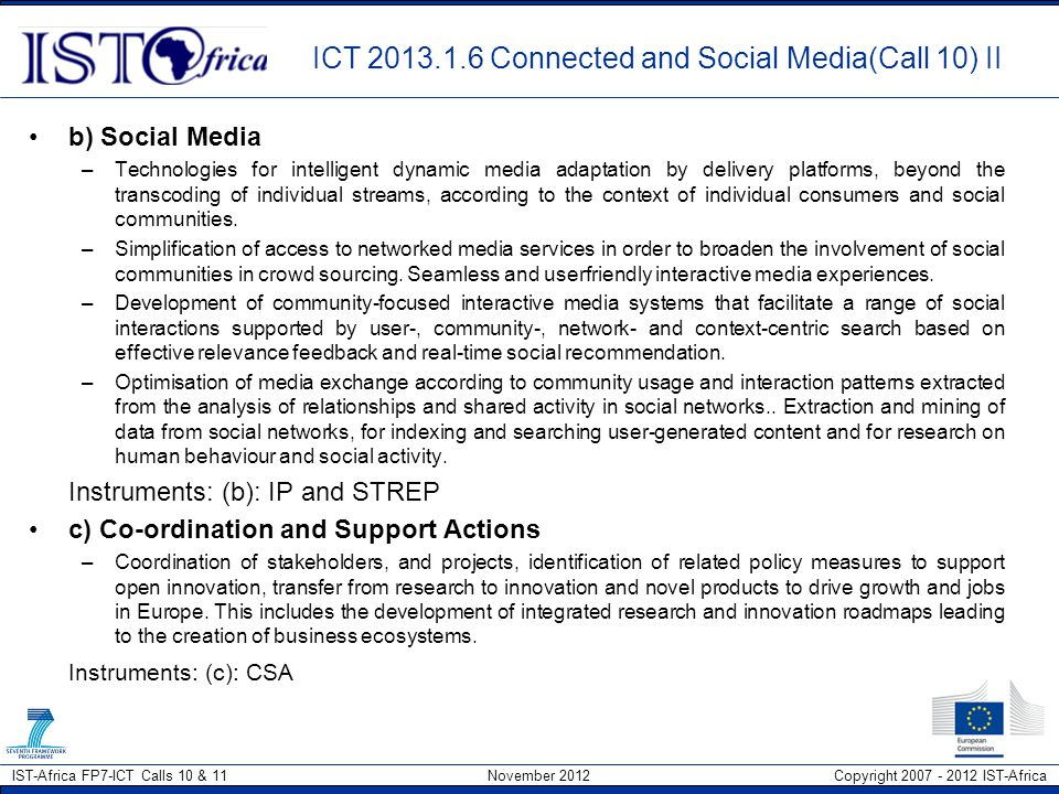 ICT 2013.1.6 Connected and Social Media(Call 10) II