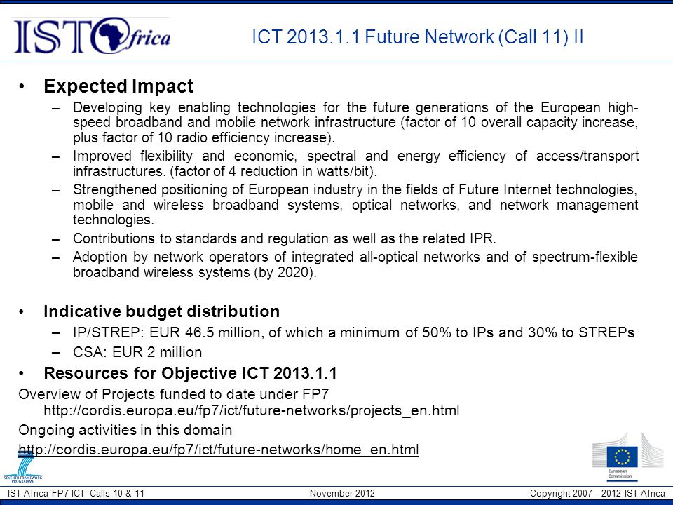 ICT 2013.1.1 Future Network (Call 11) II