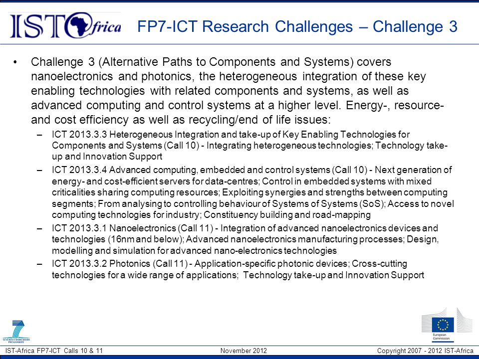 FP7-ICT Research Challenges – Challenge 3