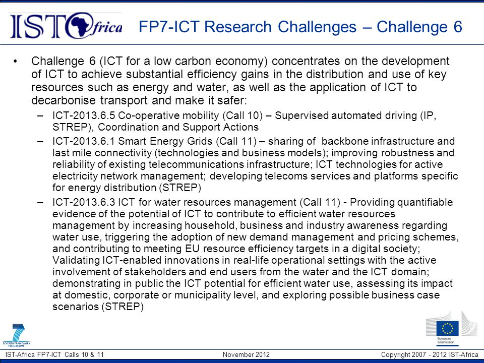 FP7-ICT Research Challenges – Challenge 6