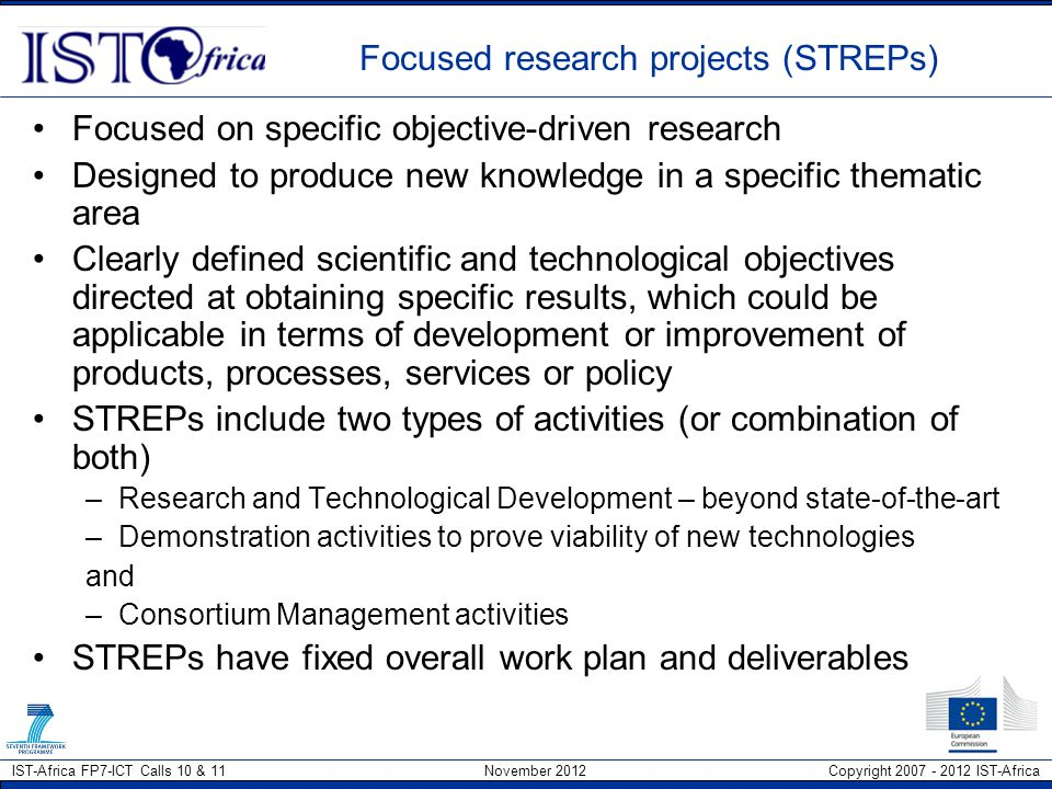 Focused research projects (STREPs)