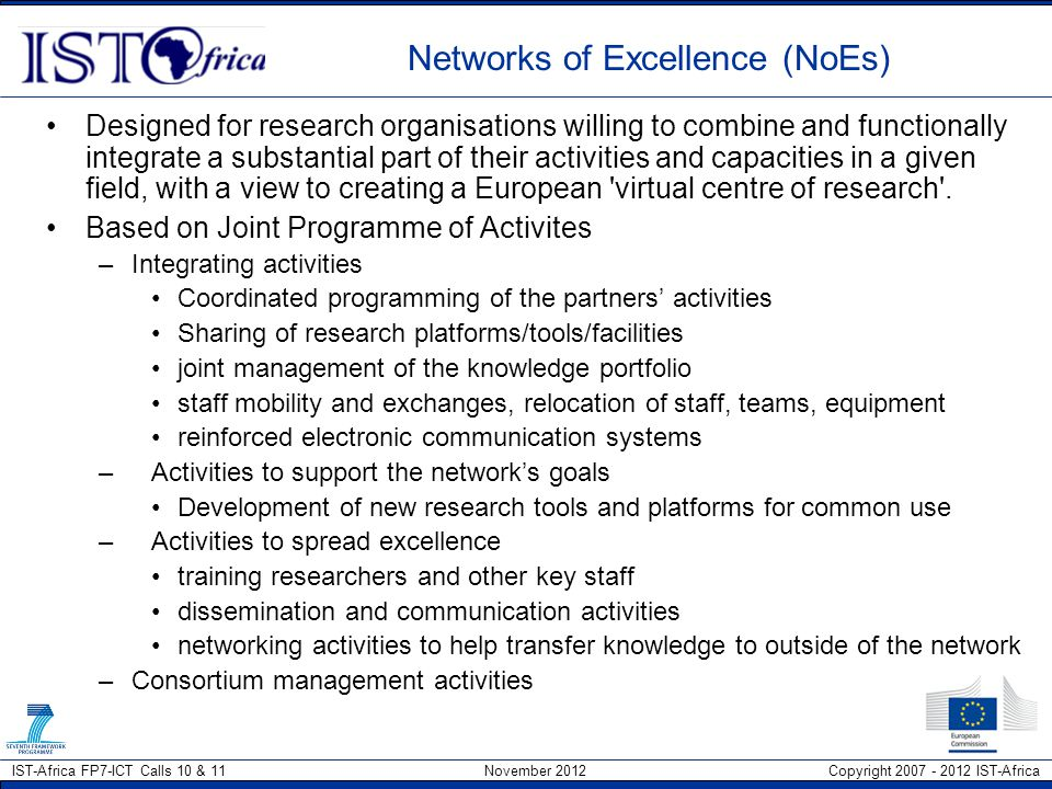 Networks of Excellence (NoEs)