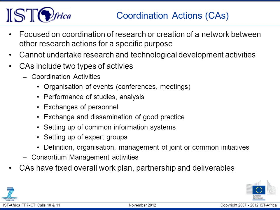 Coordination Actions (CAs)