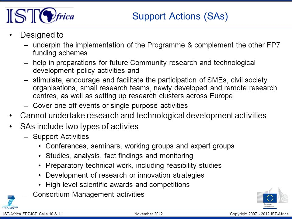 Support Actions (SAs) Designed to