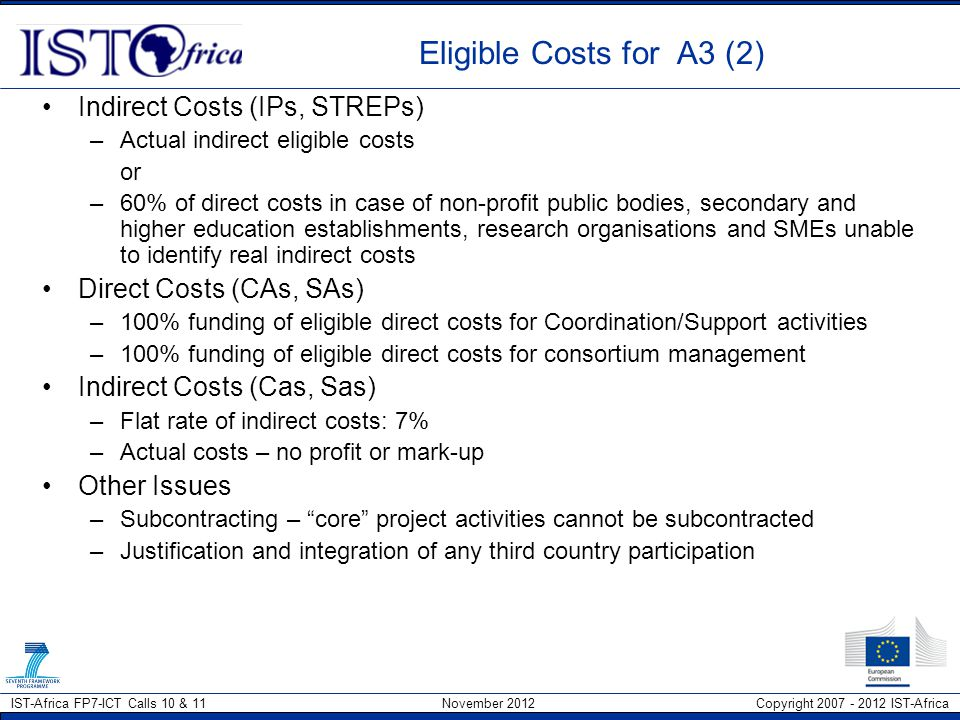 Eligible Costs for A3 (2) Indirect Costs (IPs, STREPs)