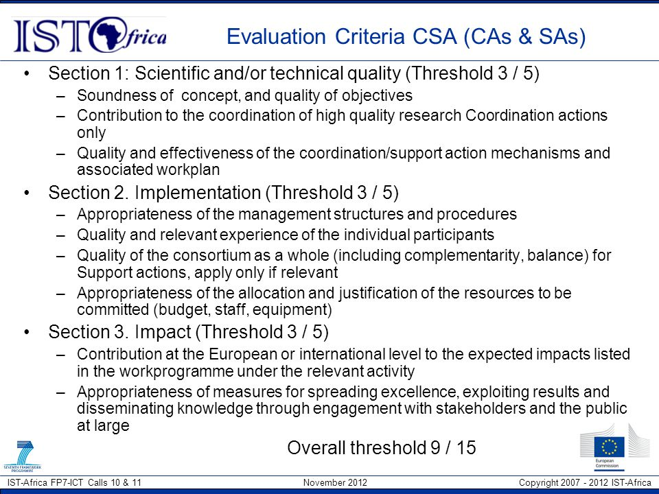 Evaluation Criteria CSA (CAs & SAs)