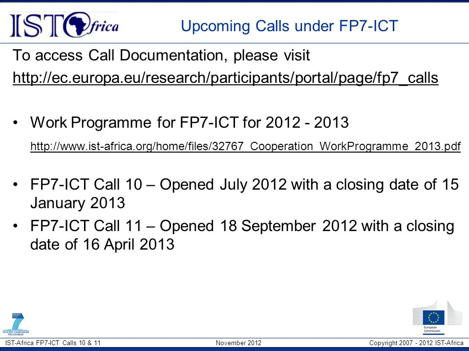 Upcoming Calls under FP7-ICT