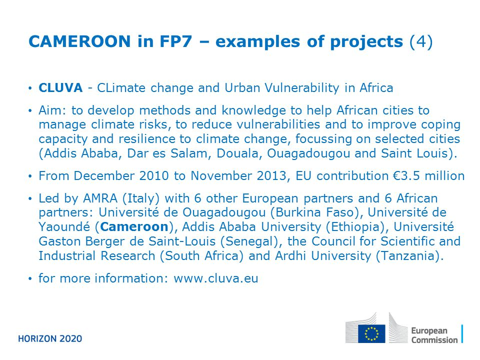 CAMEROON in FP7 – examples of projects (4)