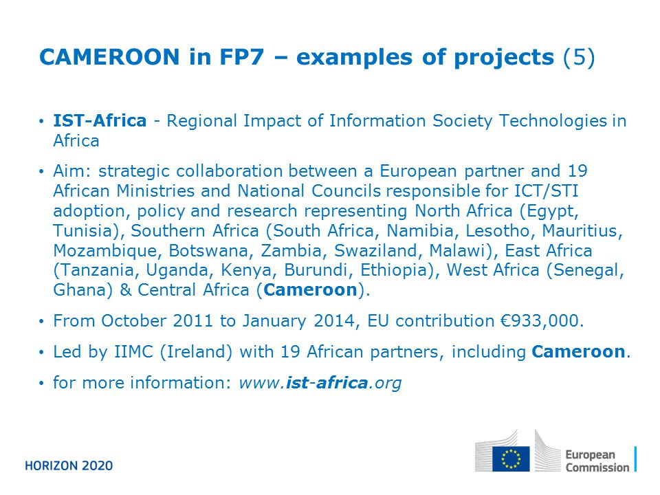 CAMEROON in FP7 – examples of projects (5)
