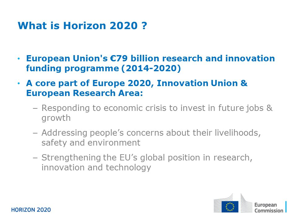 What is Horizon 2020 European Union s €79 billion research and innovation funding programme (2014-2020)