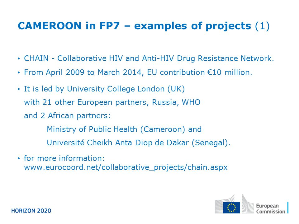 CAMEROON in FP7 – examples of projects (1)